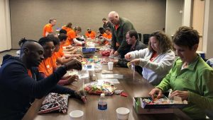 TruStone Financial's Contact Center team assembled gift bags for Simon Says Give during CU Forward Day.