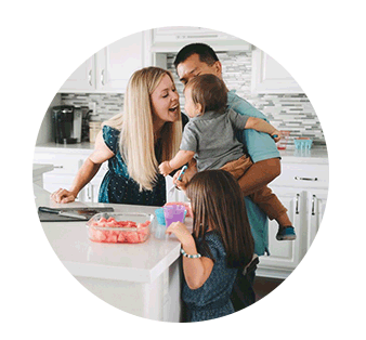 Family together in the kitchen