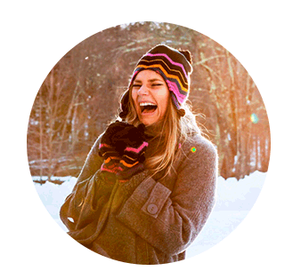 Girl laughing in the snow